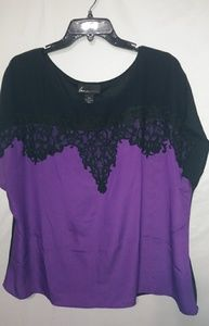 Lane Bryant Purple Dripping Black Lace Top 18/20
